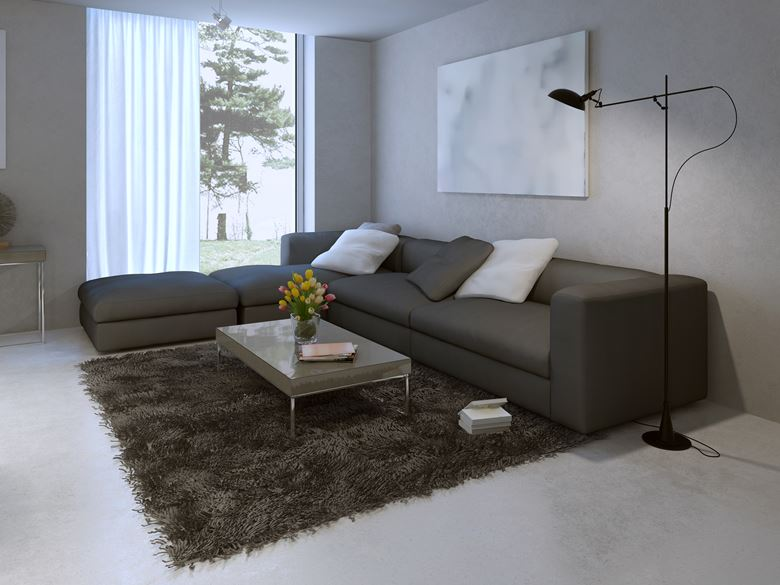 internal concrete floor in living room.