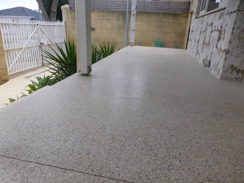 honed exterior concrete patio in fremantle.
